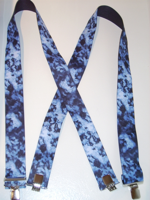 "SMOKE AND BLUE FLAMES 1 1/2""x 48"" Suspenders  With 2 Strong Chrome Adjusters And 4 Grips. UB220N48SFBL"