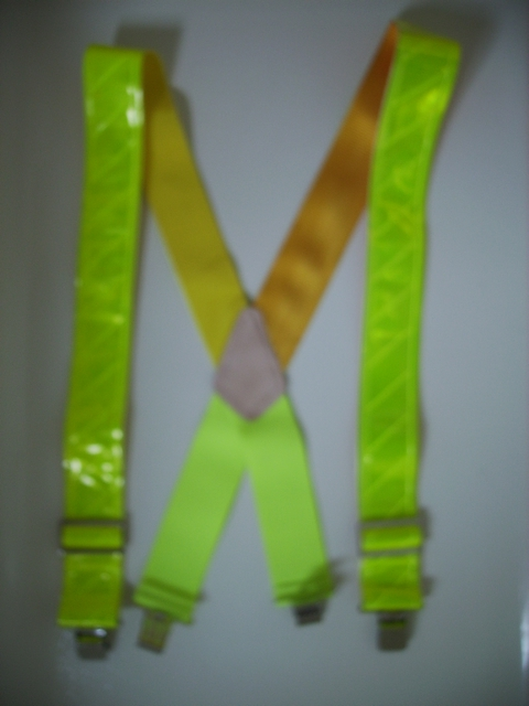 REFLECTIVE SAFETY CANARY YELLOW Suspenders 2 inches wide and 48 inches long. Non-Elastic except for the Two Strong Elastic Straps between the X and the Strong Clips. RA450N48CANA